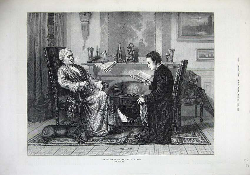 [Print 1872 Man Reading Book Dog Malade Imaginaire Webb 210N132 Old Original]