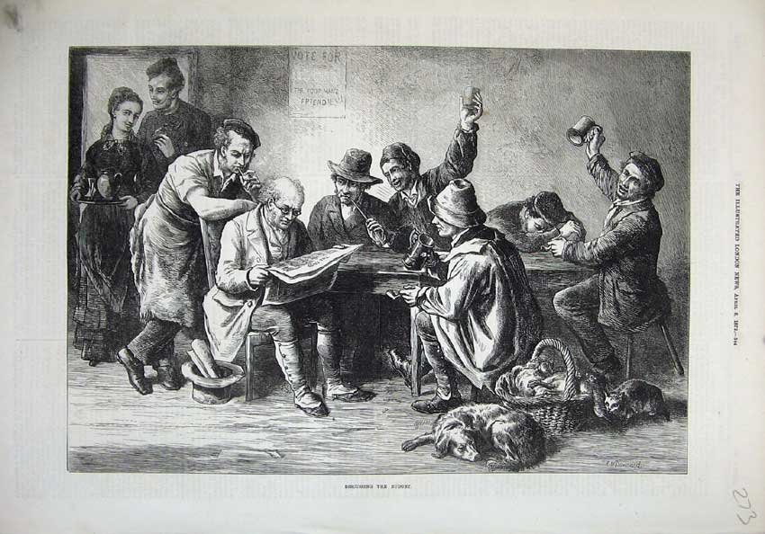[Print 1872 Men Discussing Budget Dogs Basket Table Newspaper 273N132 Old Original]