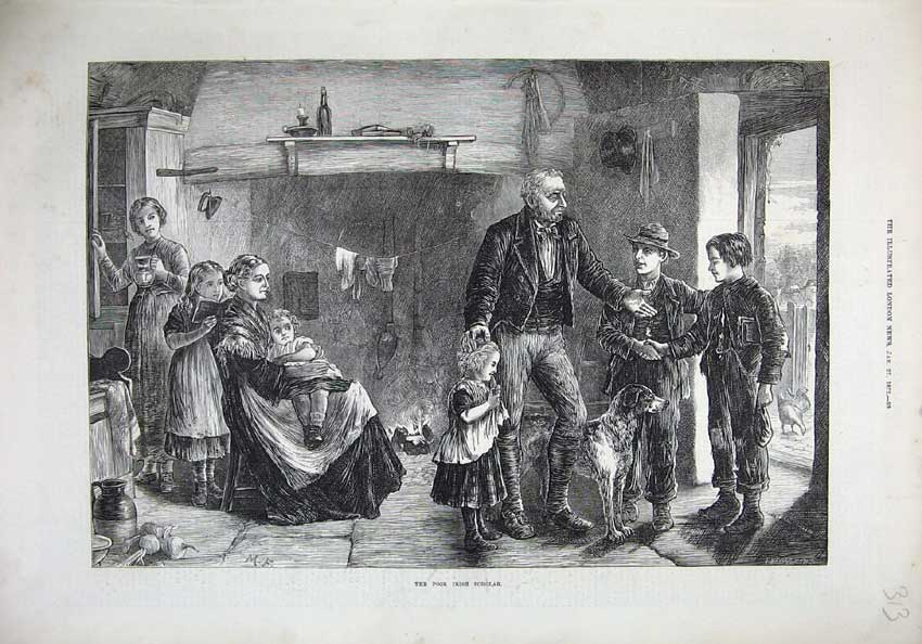 [Print Fine Art 1872 Poor Irish Scholar Children Teacher Dog 313N132 Old Original]