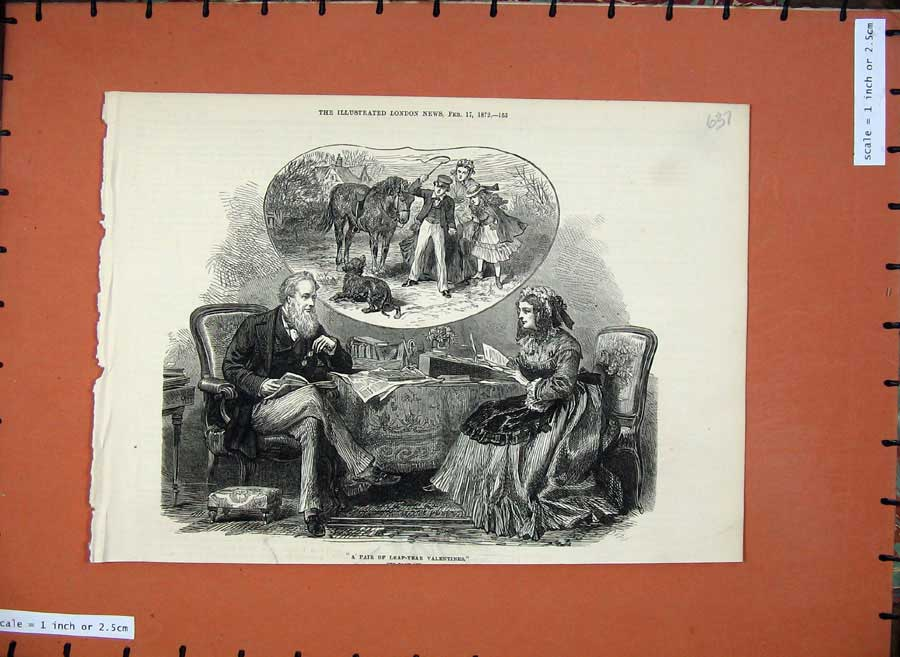 [Print 1872 Valentines Man Woman Romance Reading Horse Dog 637N132 Old Original]