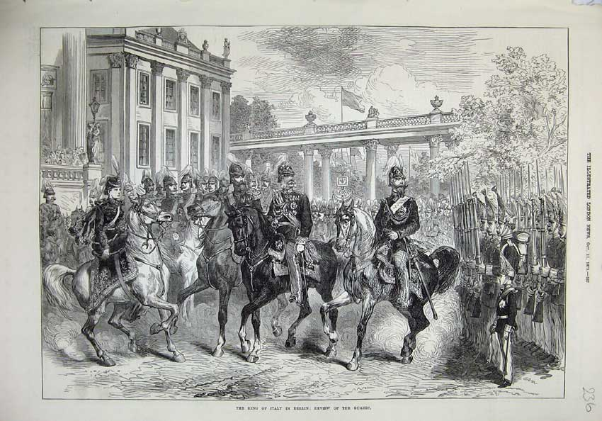 [Print 1873 King Italy Berlin Review Guards War Horses Army 236N135 Old Original]