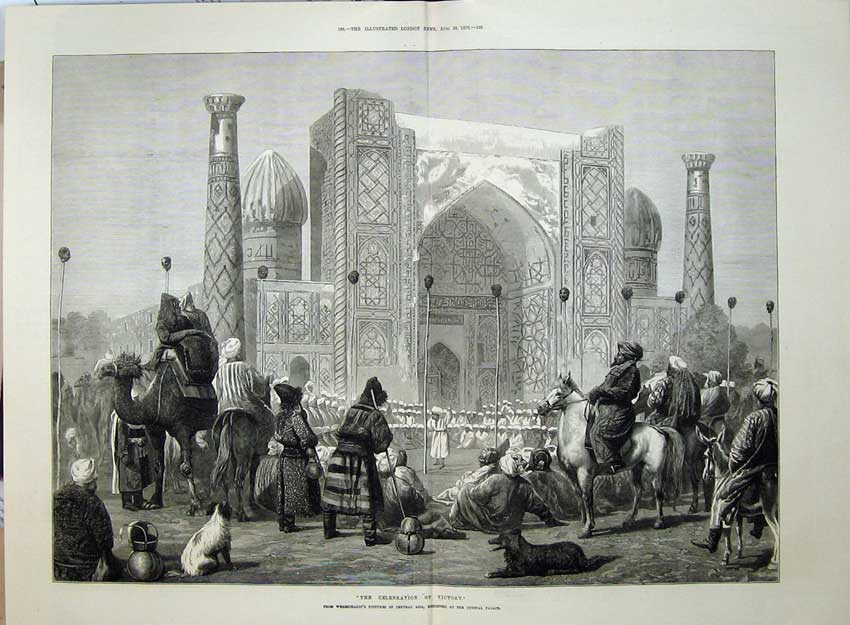 [Print 1873 Celebration Victory War Asia Camels Horse Fine Art 524Tn135 Old Original]