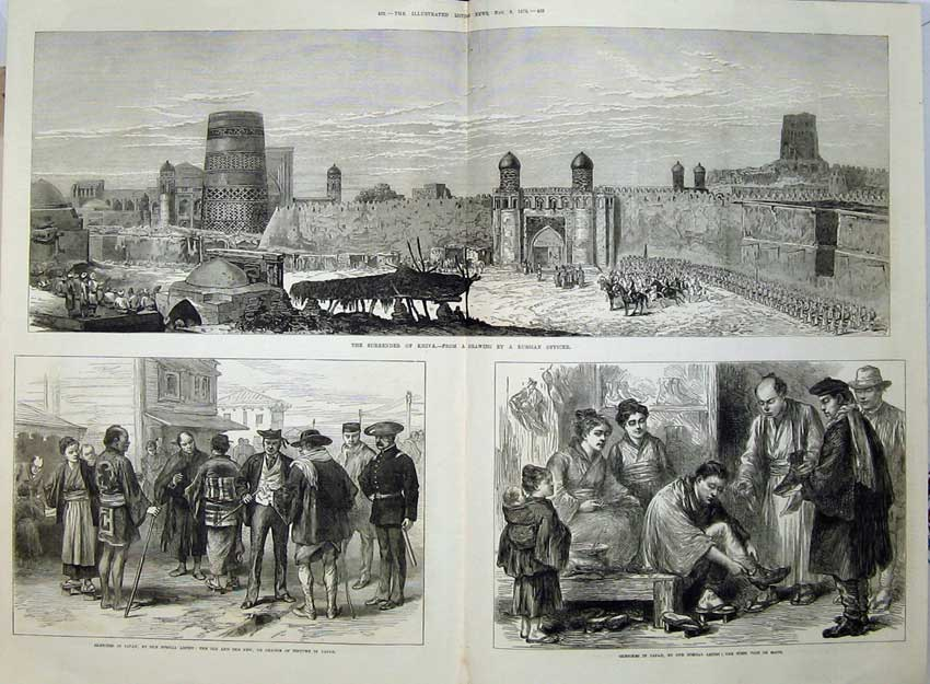 [Print 1873 Surrender Khiva Japan Shoemaker Costume War 536Tn135 Old Original]