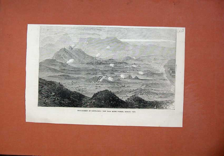 [Print 1873 Bombardment Carthagena Mount Porman War 603N135 Old Original]