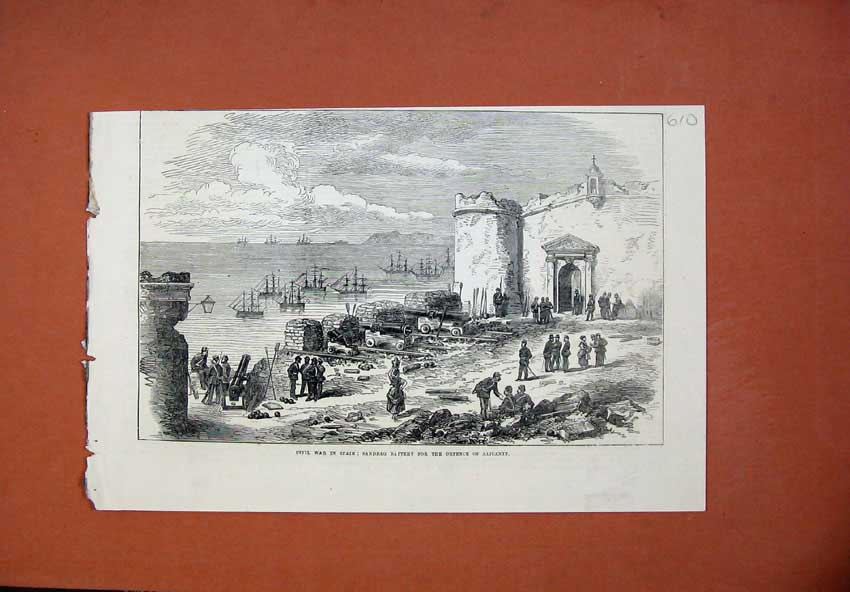[Print 1873 Civil War Spain Sandbag Battery Defence Alicante 610N135 Old Original]