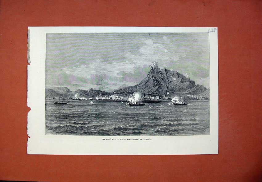 [Print Civil War Spain 1873 Bombardment Alicante Ship Castle 638N135 Old Original]
