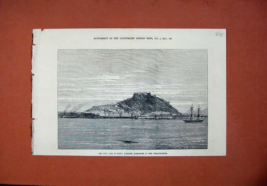 [Print 1873 Civil War Spain Alicante Bombardment Ships War Art 641N135 Old Original]