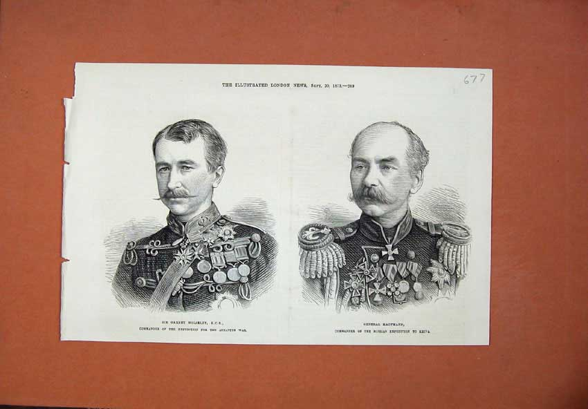 [Print 1873 Sir Garnet Wolseley General Kaufmann Commander War 677N135 Old Original]
