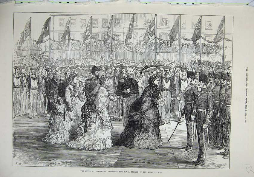 [Print 1874 Queen Portsmouth Naval Brigade Ashantee War 125N136 Old Original]