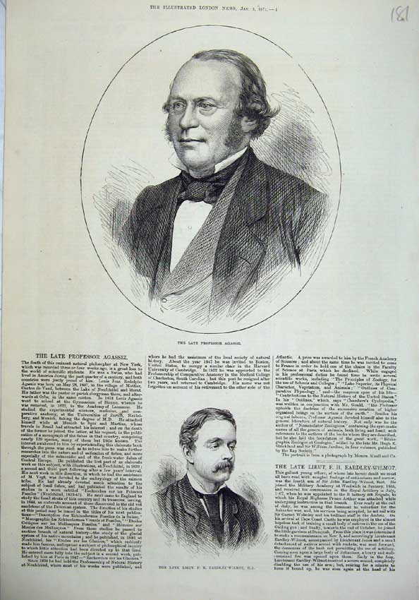 [Print 1874 Professor Agassiz Eardley Wilmot Men War Officer 181N136 Old Original]