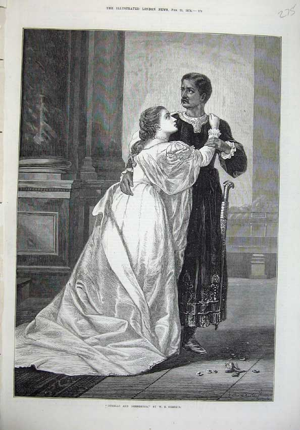 Print 1874 Othello Desdemona Man Woman Romance Herrick Art 275N136 Old Original