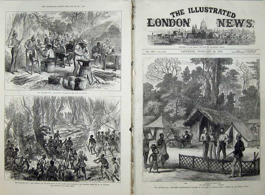 [Print 1874 Ashantee War Camp Prah-Su Lord Gifford Reporters 525Tn136 Old Original]