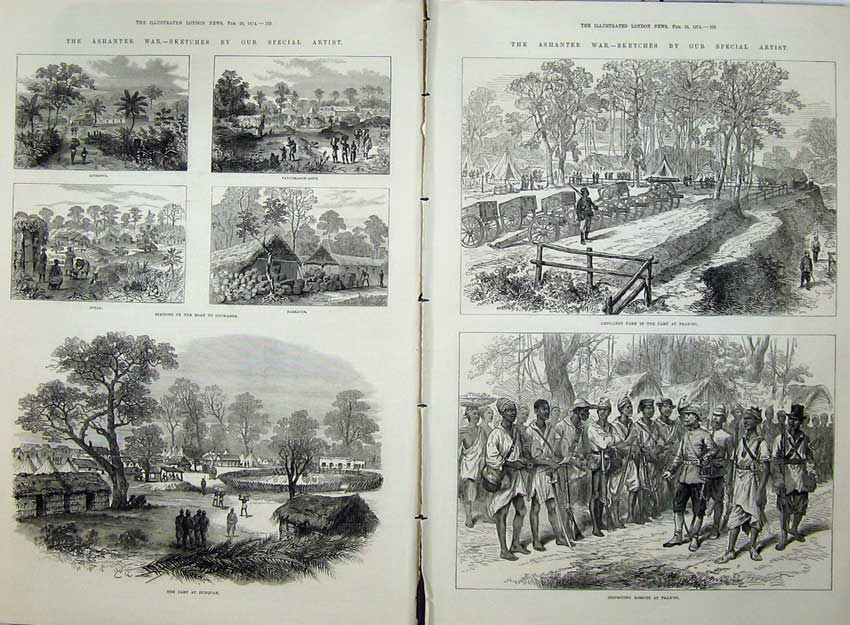 [Print Ashantee War 1874 Camp Dunquah Sutah Barracoe Army Men 526Tn136 Old Original]