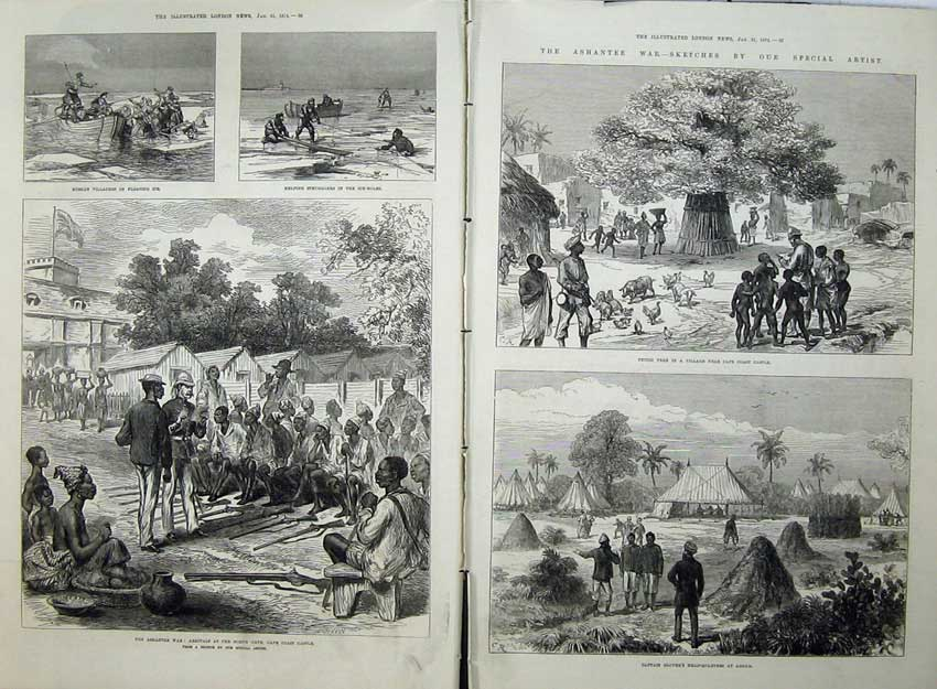 [Print 1874 Ashantee War Cape Coast Castle Captain Glover Army 529Tn136 Old Original]