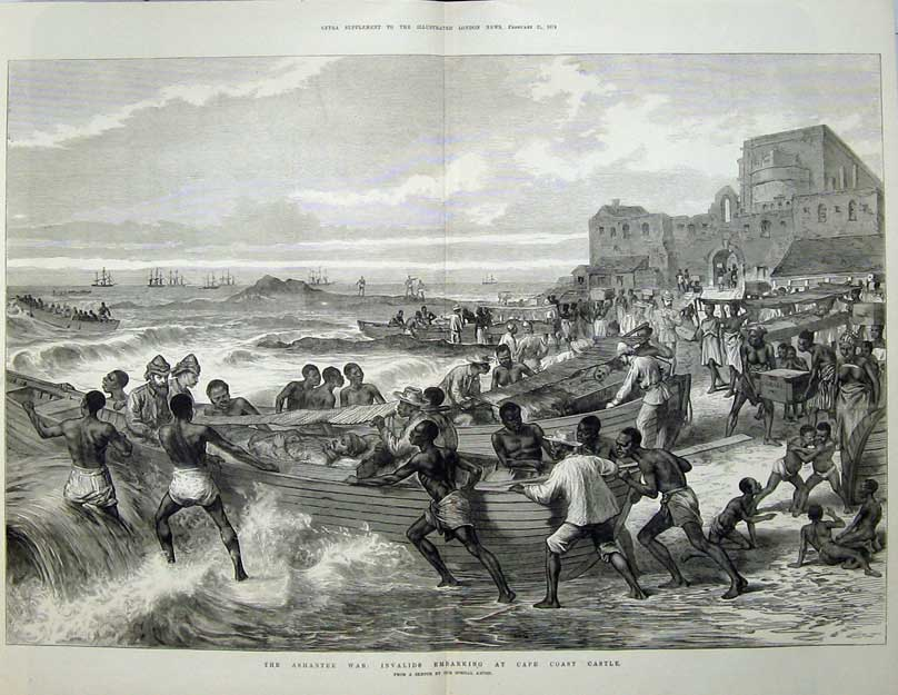 [Print 1874 Ashantee War Invalids Embarking Cape Coast Castle 542Tn136 Old Original]