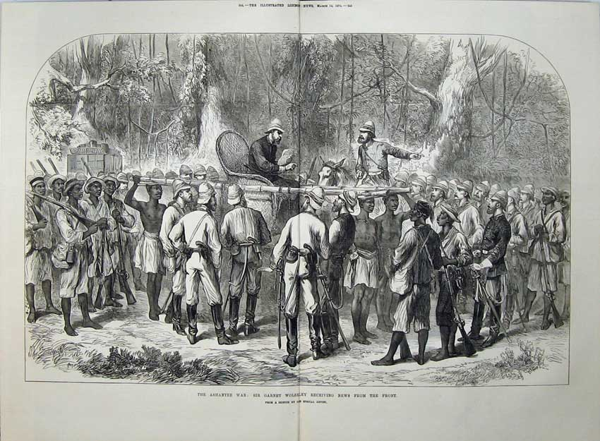 [Print Ashantee War 1874 Sir Garnet Wolseley Army Natives Men 546Tn136 Old Original]