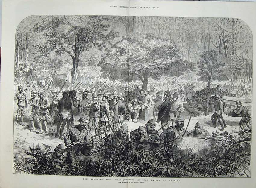 [Print Ashantee War 1874 Head-Quarters Battle Amoaful Army 548Tn136 Old Original]