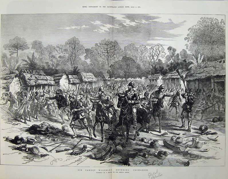 [Print Ashantee War 1874 Garnet Wolseley Coomassie Army Men 549Tn136 Old Original]