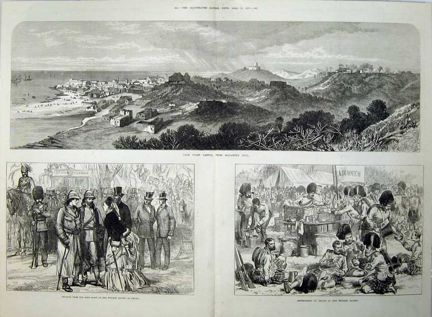 [Print Cape Coast Castle 1874 Macarthy Hill Windsor Review War 550Tn136 Old Original]