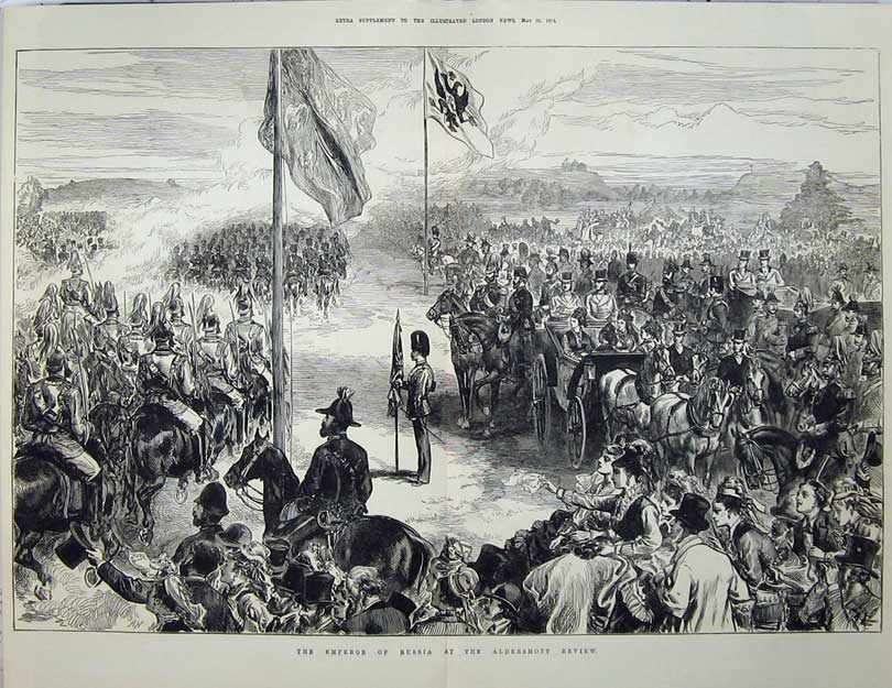 [Print 1874 Emperor Russia Aldershot Review Army War 561Tn136 Old Original]