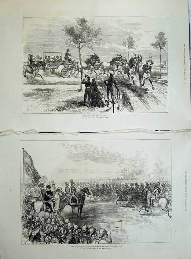 [Print 1876 Prince Wales Seville Spain Review Army Delhi War 508Tn140 Old Original]