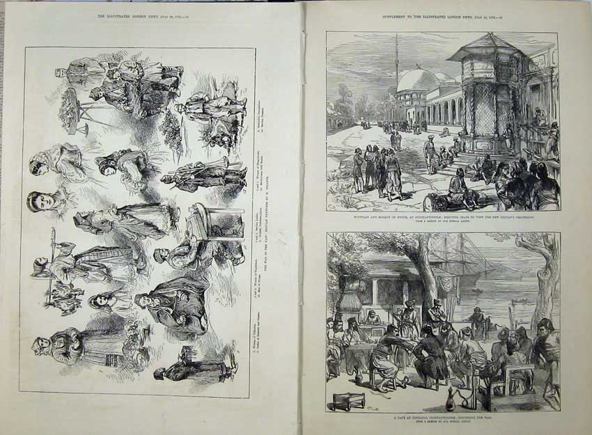 [Print War Servian 1876 Caf� Therapia Constantinople Mosque 506Tn141 Old Original]