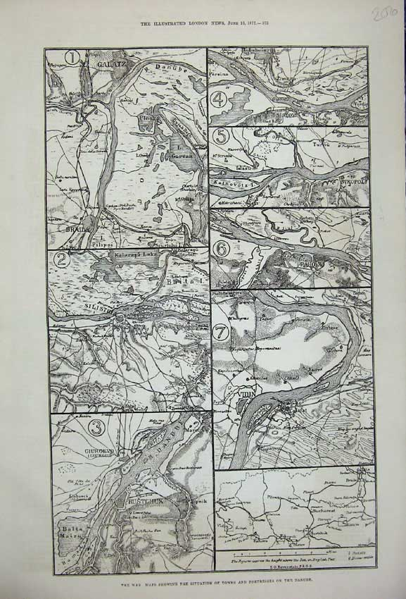 [Print 1877 War Maps Towns Fortresses River Danube Germany 206N142 Old Original]