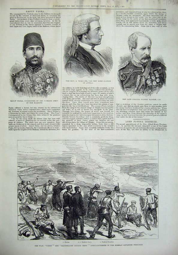 [Print 1877 War Russian Advanced Trenches Pasha Baigrie Lord 103N143 Old Original]