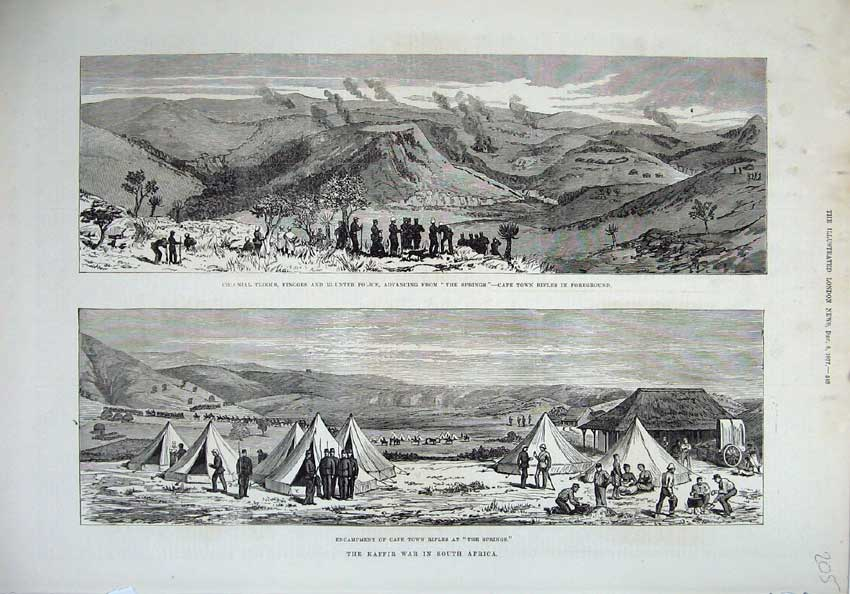 [Print 1877 Kaffir War South Africa Troops Police Cape Town 205N143 Old Original]