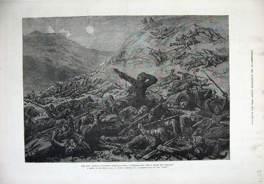 [Print War 1877 Effects Breechloaders Turkish Loss Fine Art 224N143 Old Original]