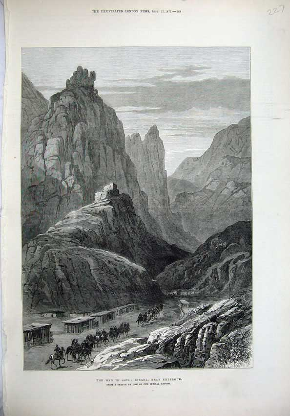 [Print 1877 War Asia Zigana Erzeroum Mountains Army Horses 227N143 Old Original]