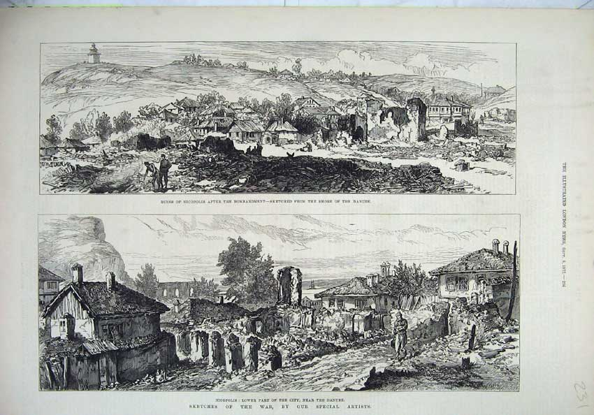 [Print War 1877 Ruins Nicopolis City Danube Bombardment Art 231N143 Old Original]