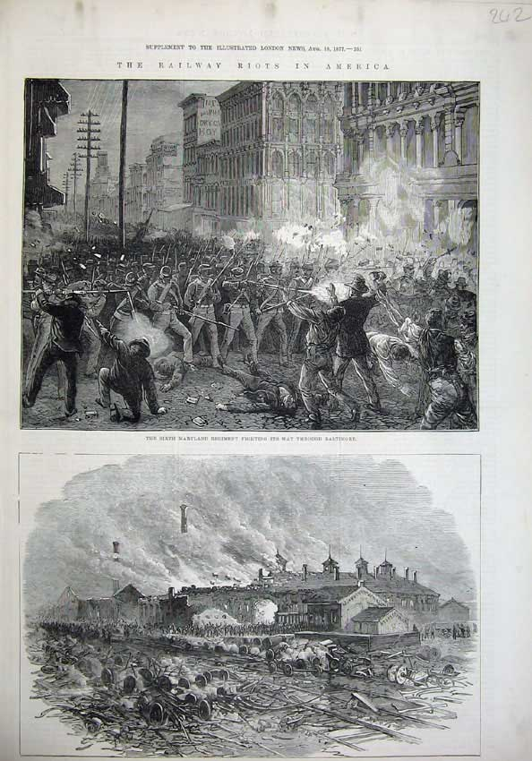 [Print 1877 Railway Riots America Pittsburg Fire Maryland War 242N143 Old Original]