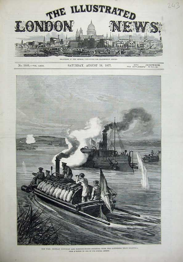 [Print *0216 1877 War Russian Gun-Boat Torpedo Batteries Silistria 243N143 Old Original]