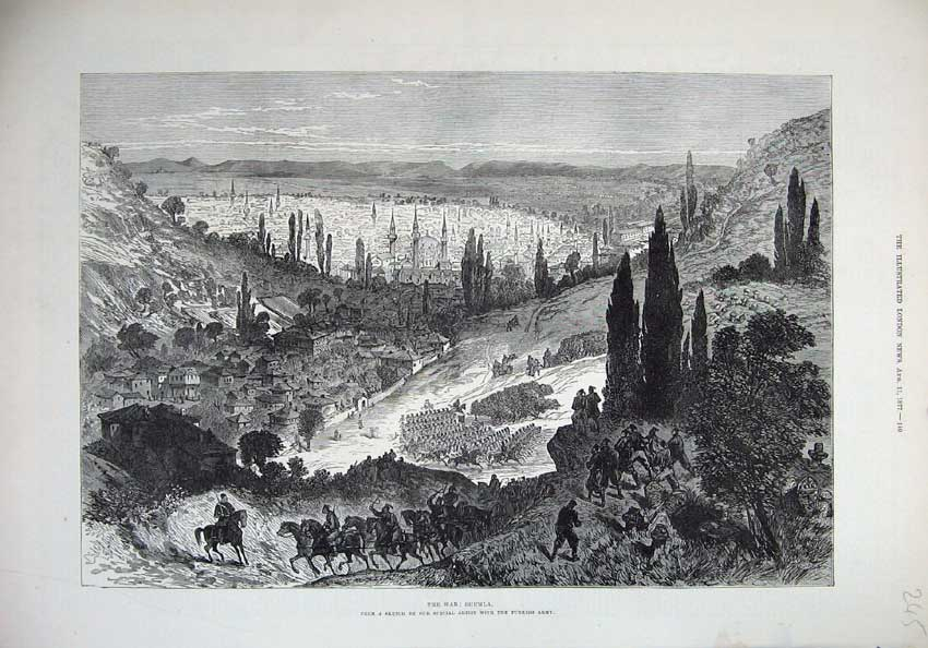 [Print War 1877 View Shumla Town Mountains Horses Fine Art 245N143 Old Original]