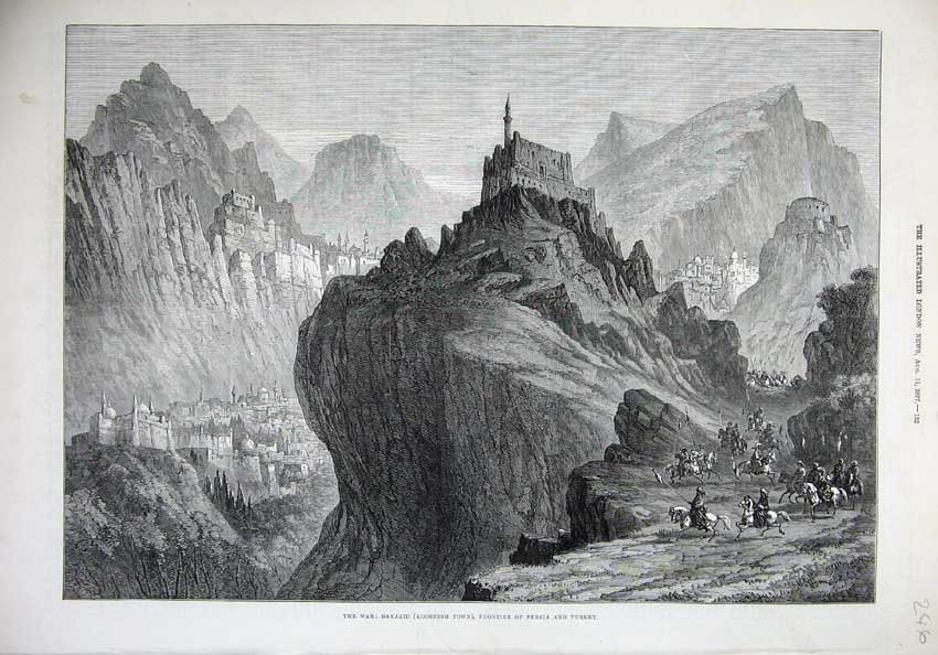 [Print War 1877 Bayazid Koordish Town Persia Turkey Fine Art 246N143 Old Original]