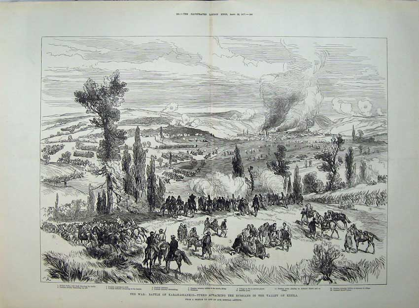 [Print 1877 War Battle Karahassankoi Turks Russians Kizila Art 556Tn143 Old Original]