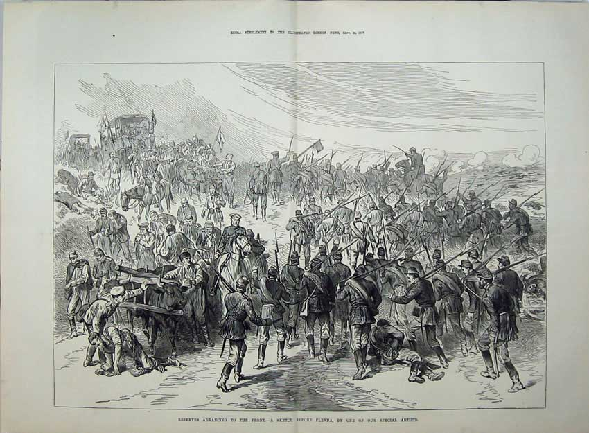 [Print 1877 Reserves Advancing Plevna War Army Soldiers Sketch 557Tn143 Old Original]