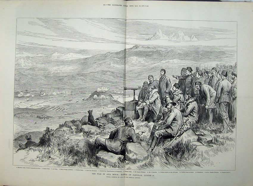 [Print 1877 War Asia Minor Battle Jahnilar Pasha Chevket Army 558Tn143 Old Original]