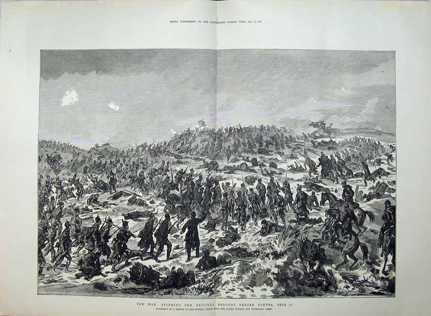 [Print 1877 War Storming Grivitza Redoubt Plevna Battle Army 561Tn143 Old Original]