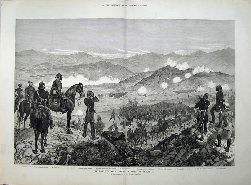 [Print 1877 War Armenia Battle Kizil-Tepe Russian Guns Turkish 562Tn143 Old Original]