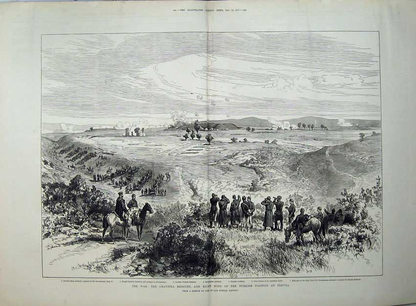 [Print War 1877 Gravitza Redoubt Turkish Position Plevna Army 563Tn143 Old Original]