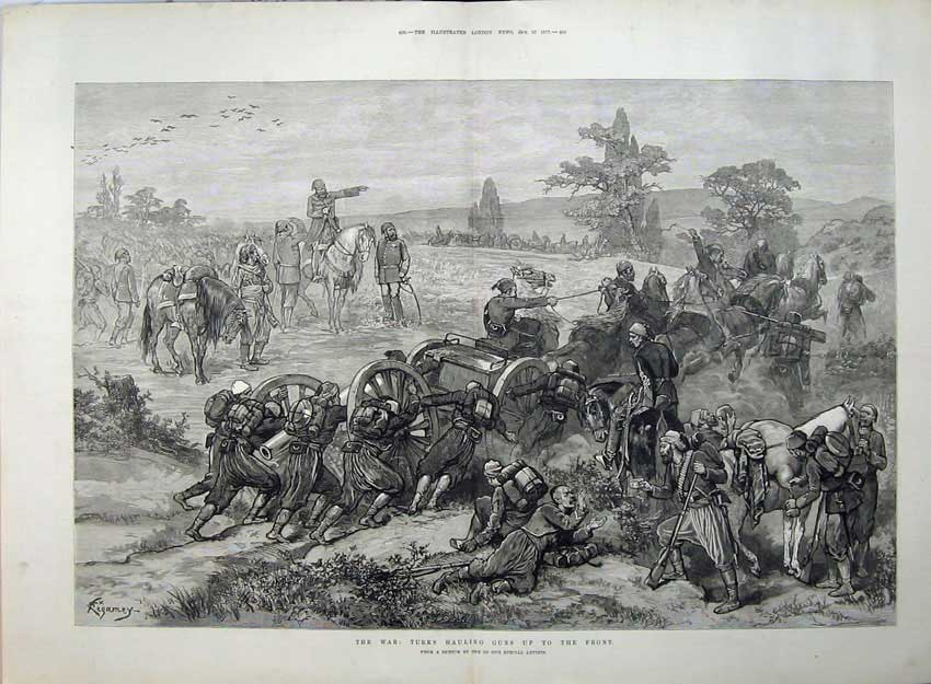 [Print War 1877 Turks Hauling Guns Army Cannon Horses Sketch 564Tn143 Old Original]
