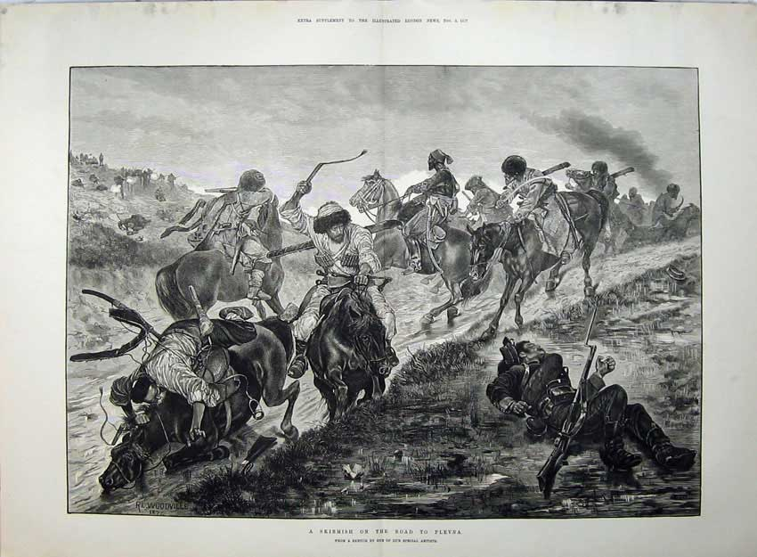 [Print 1877 War Skirmish Road Plevna Men Shooting Horses Art 567Tn143 Old Original]
