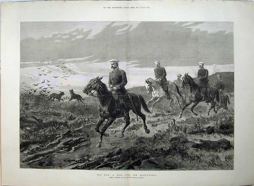 [Print War 1877 Horse Ride Battle Field Dogs Birds Fine Art 568Tn143 Old Original]
