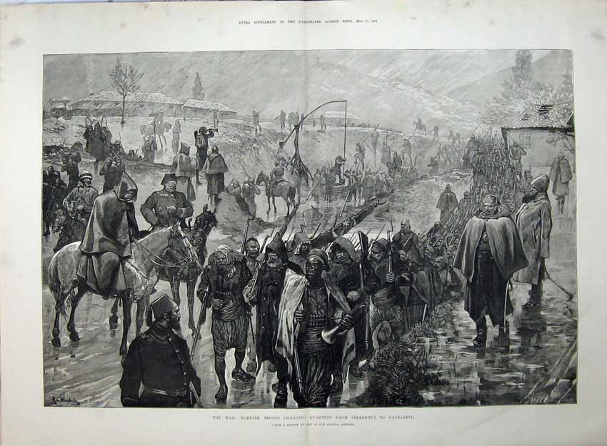 [Print 1877 War Turkish Troops Changing Sinankeui Kaceljevo 569Tn143 Old Original]