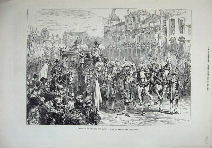 [Print 1878 Marriage King Queen Spain Madrid Procession 285N144 Old Original]