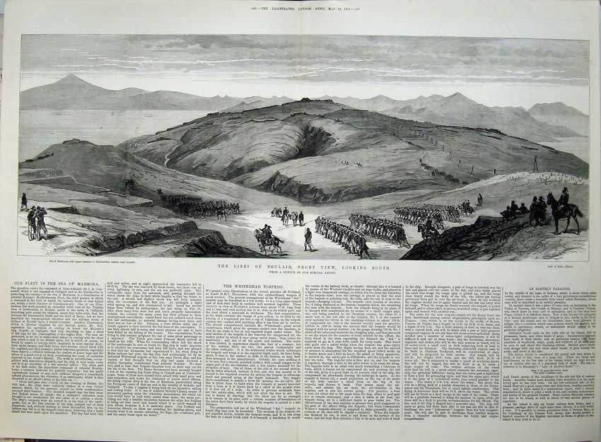 [Print 1878 War Lines Boulair Army Mountains Horses Sea Ships 553Tn144 Old Original]