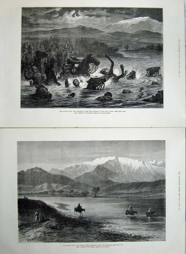 [Print 1879 Afghan War Hussars Cabul River Mountains Fine Art 511Tn145 Old Original]