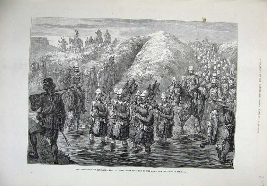 [Print 1879 Zululand War Royal Scots Fusiliers Soldiers Pipes 270N146 Old Original]